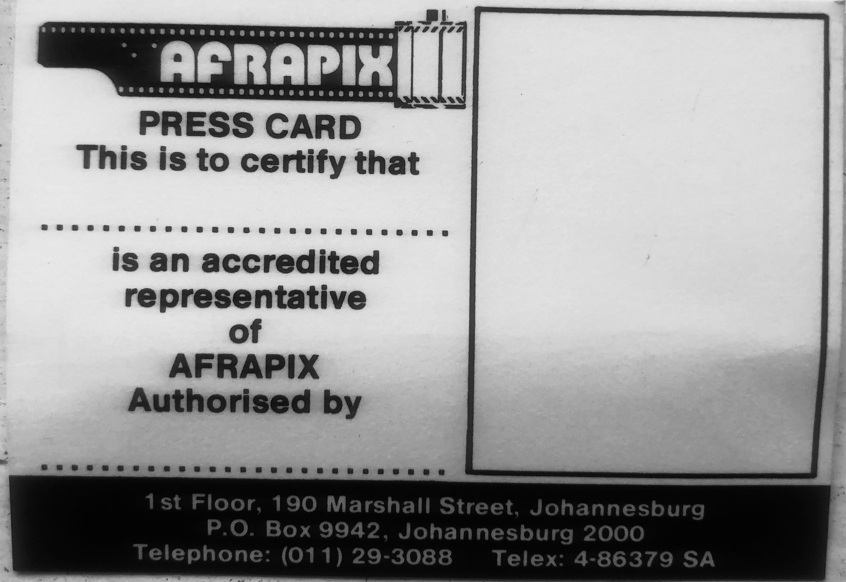 Afrapix Press Card