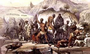 Artist's depiction of 'Insurgents defending a stronghold in the forested Water Kloof during the 8th Xhosa war'.Source: wikipedia