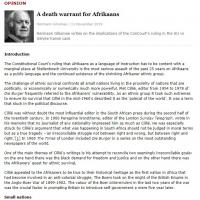 A death warrant for Afrikaans cover