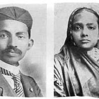 Mahatma Gandhi and his wife Kasturbha