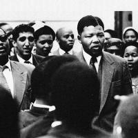 Nelson Mandela outside court in Johannesburg